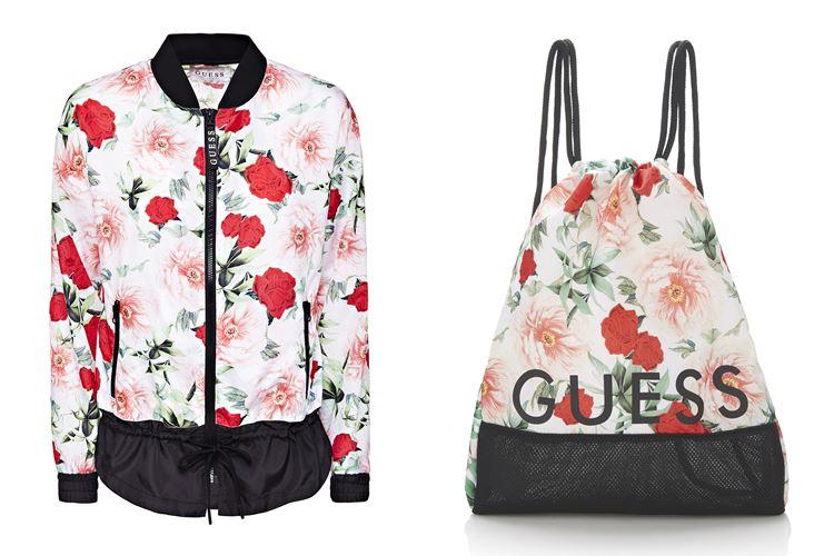Спортивная коллекция Guess Activewear весна-лето 2018 - цветочная куртка и рюкзак