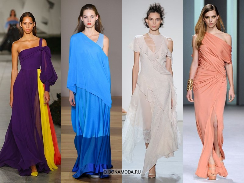 Вечерние платья весна-лето 2018 - длинные асимметричные