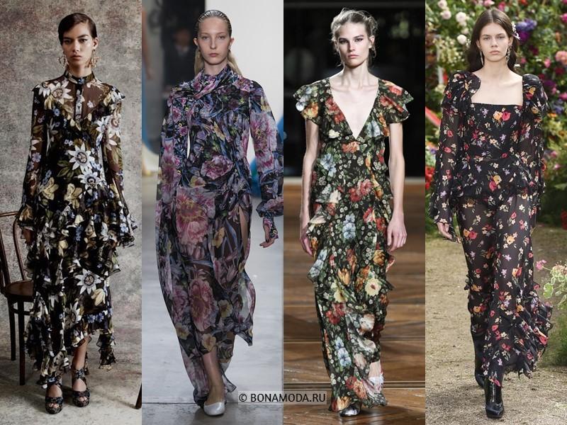 Вечерние платья весна-лето 2018 - цветочный принт