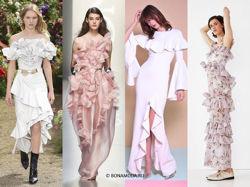 Вечерние платья весна-лето 2018 - с воланами и оборками