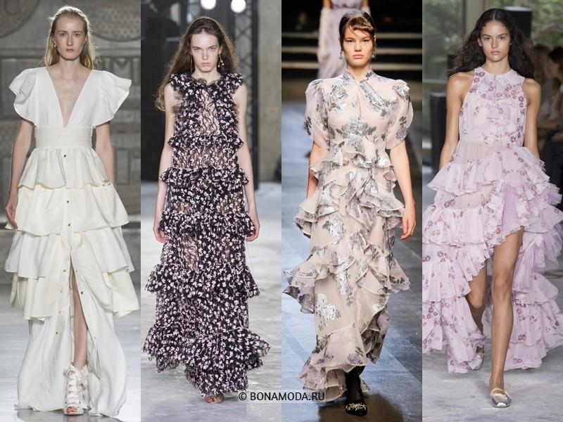 Вечерние платья весна-лето 2018 - с объёмными ярусами