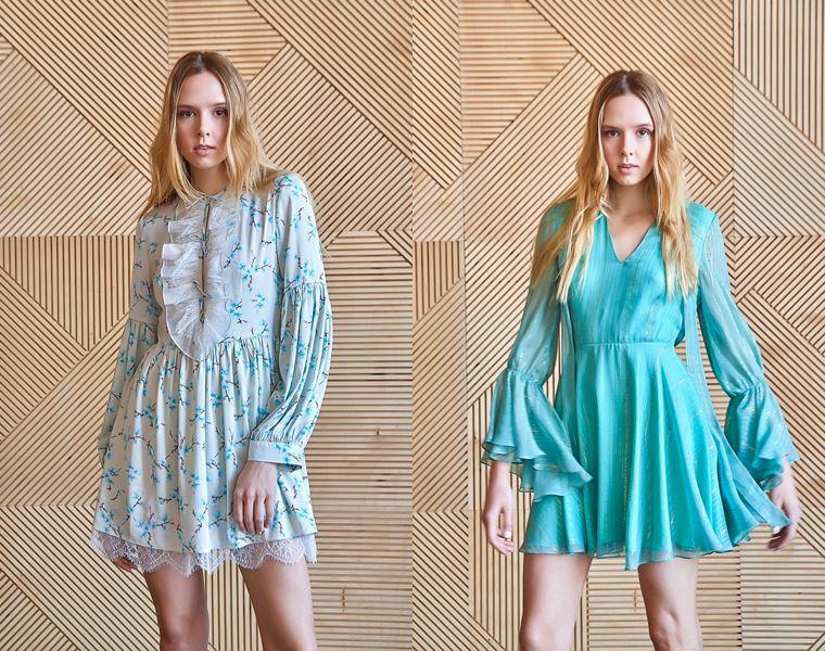 Коллекция Girlpower Label весна-лето 2018 - голубые платья  с длинными рукавами