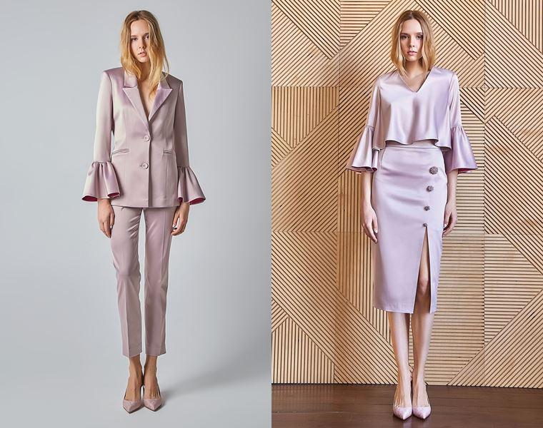 Коллекция Girlpower Label весна-лето 2018 - сиреневые костюмы с брюками и юбкой