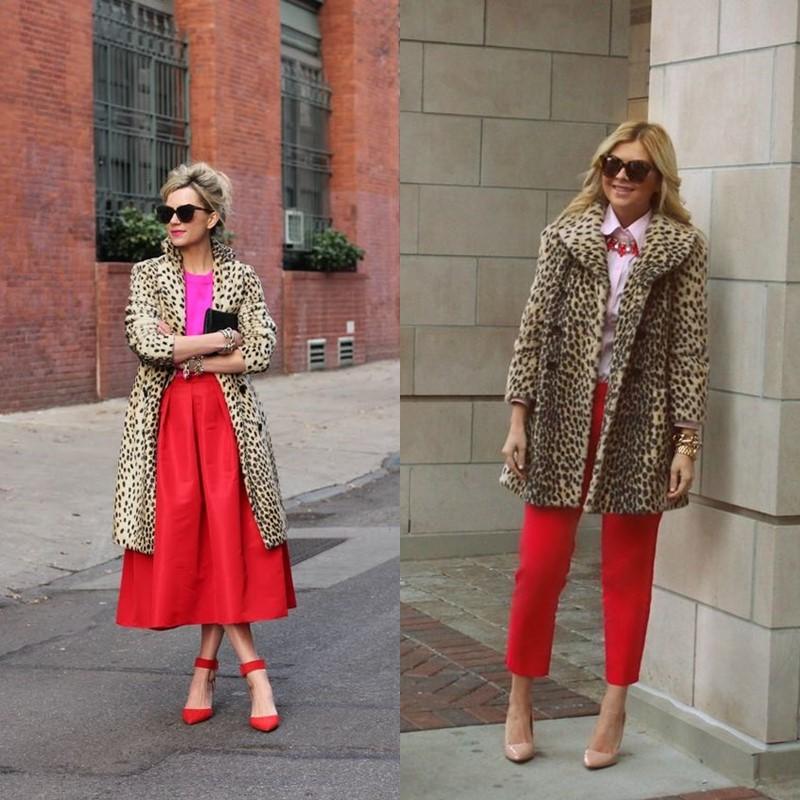 Как носить леопардовое пальто – красные юбки и брюки