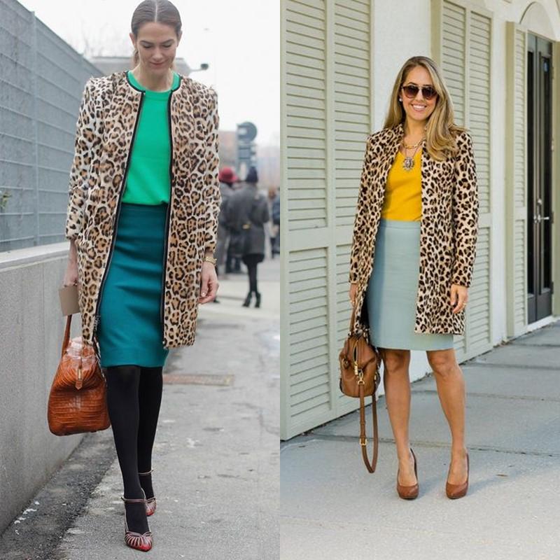 Как носить леопардовое пальто – Юбка-карандаш