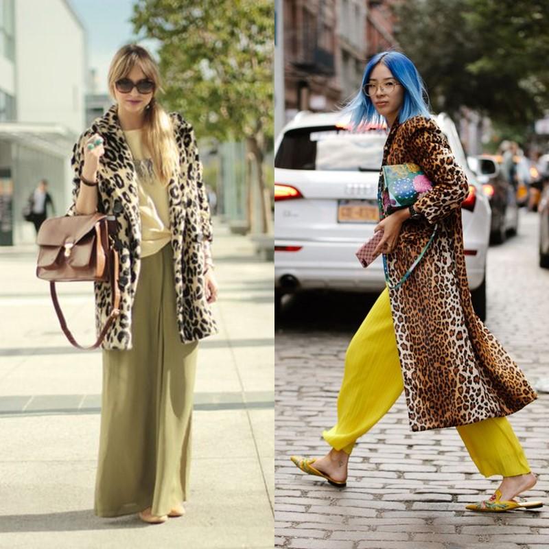 Как носить леопардовое пальто – Широкие брюки