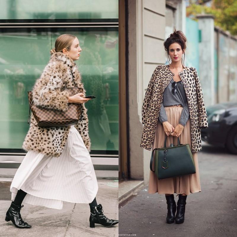 Как носить леопардовое пальто – Платья и юбки миди