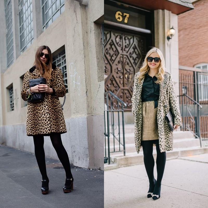 Как носить леопардовое пальто – Плотные колготы