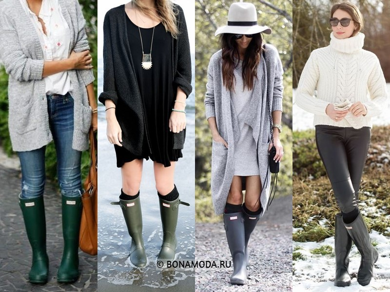 Как стильно носить резиновые сапоги - C трикотажным кардиганом или свитером