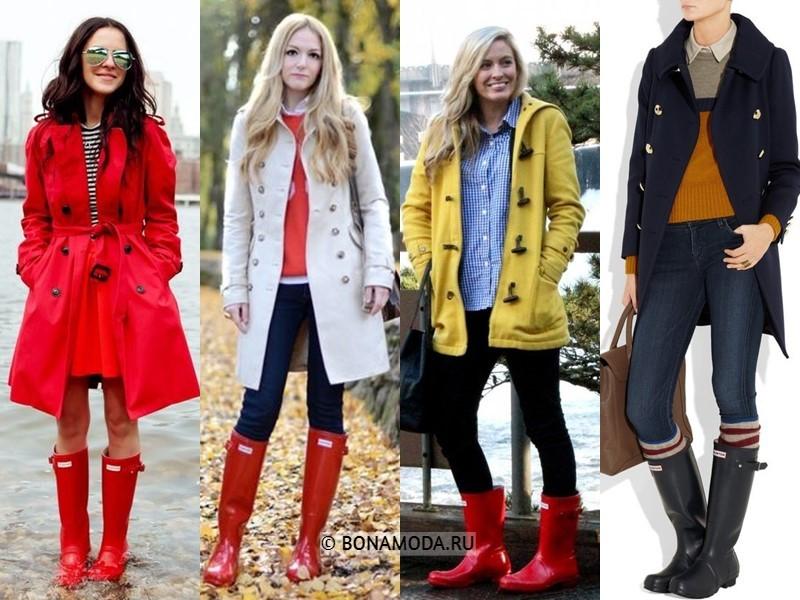 Как стильно носить резиновые сапоги - С элегантным пальто или плащом