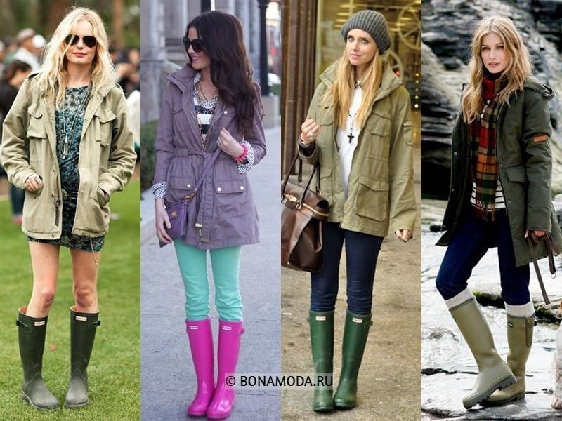 Как стильно носить резиновые сапоги - с модной осенне-весенней курткой паркой