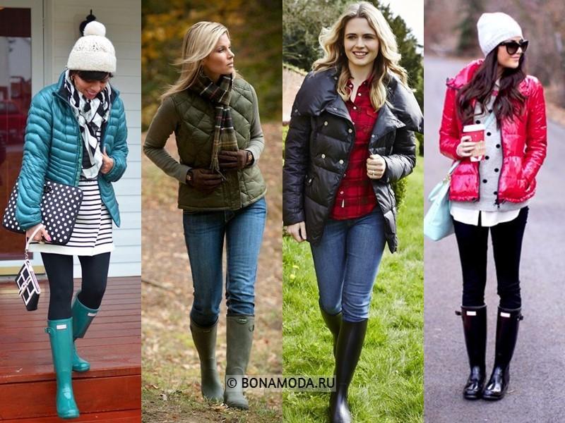 Как стильно носить резиновые сапоги - с дутыми куртками