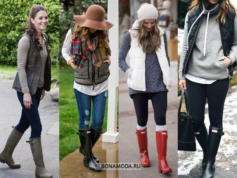 Как стильно носить резиновые сапоги - с жилетами и безрукавками