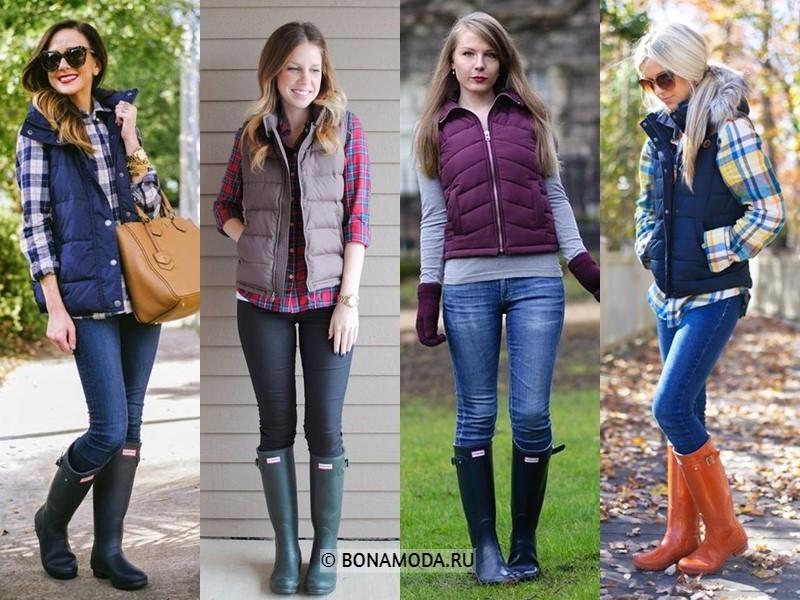 Как стильно носить резиновые сапоги - с дутыми жилетками