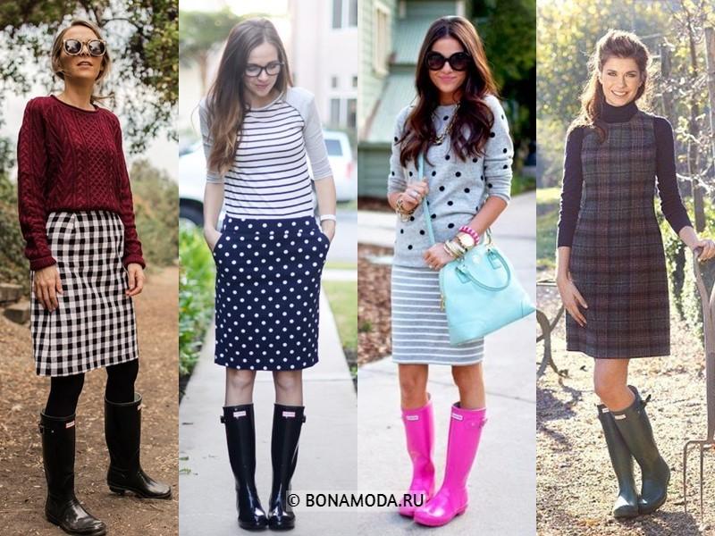 Как стильно носить резиновые сапоги - с одеждой в клетку, полоску и горошек