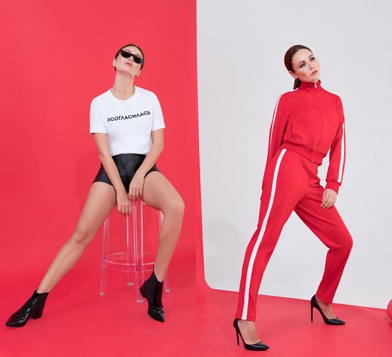 Коллекция BAON by Liasan Utiasheva весна-лето 2018 - спортивный костюм, кожаные шорты, белый топ