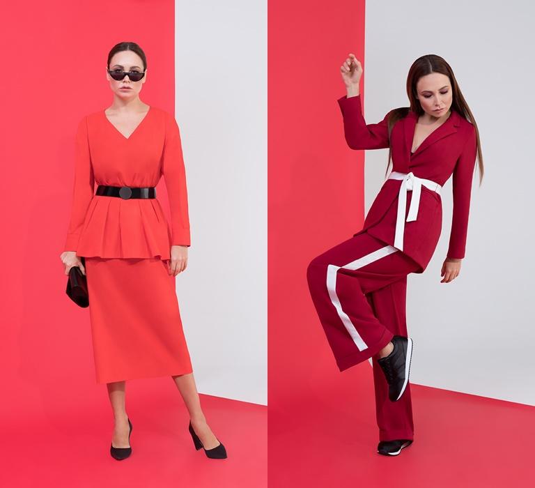 Коллекция BAON by Liasan Utiasheva весна-лето 2018 - красные костюмы с юбкой и брюками
