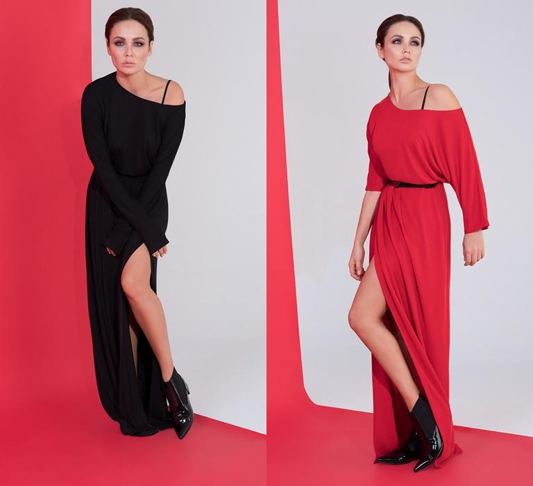 Коллекция BAON by Liasan Utiasheva весна-лето 2018 - черное и красное платье со спущенным плечом