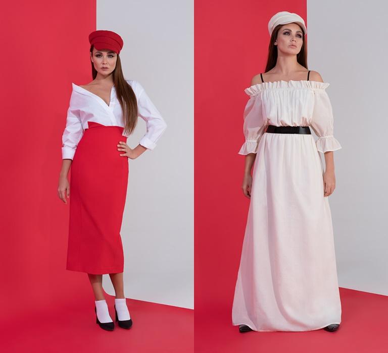 Коллекция BAON by Liasan Utiasheva весна-лето 2018 - красная юбка, белое платье