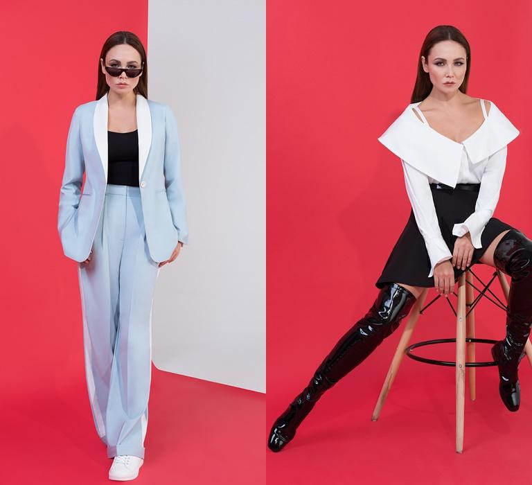 Коллекция BAON by Liasan Utiasheva весна-лето 2018 - голубой костюм, лакированные ботфорты