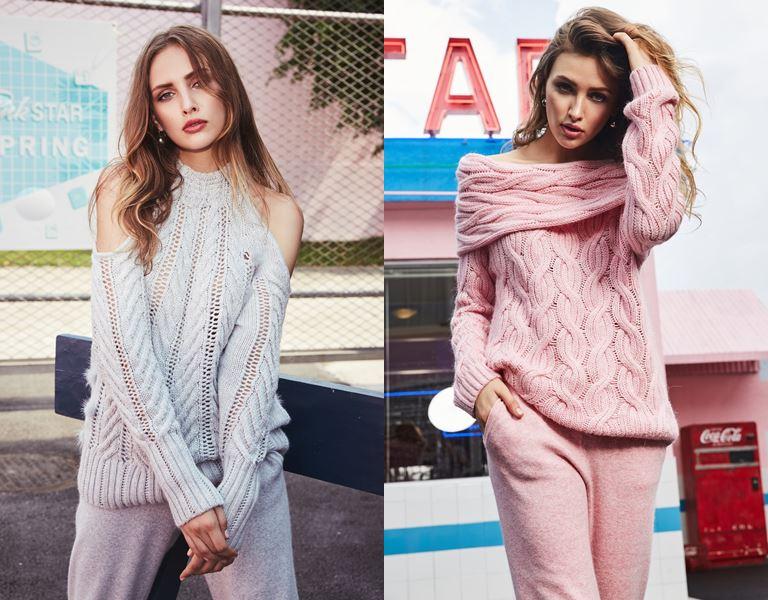 Лукбук коллекции трикотажа Ina Vokich осень-зима 2018-2019 - серый и розовый костюмы