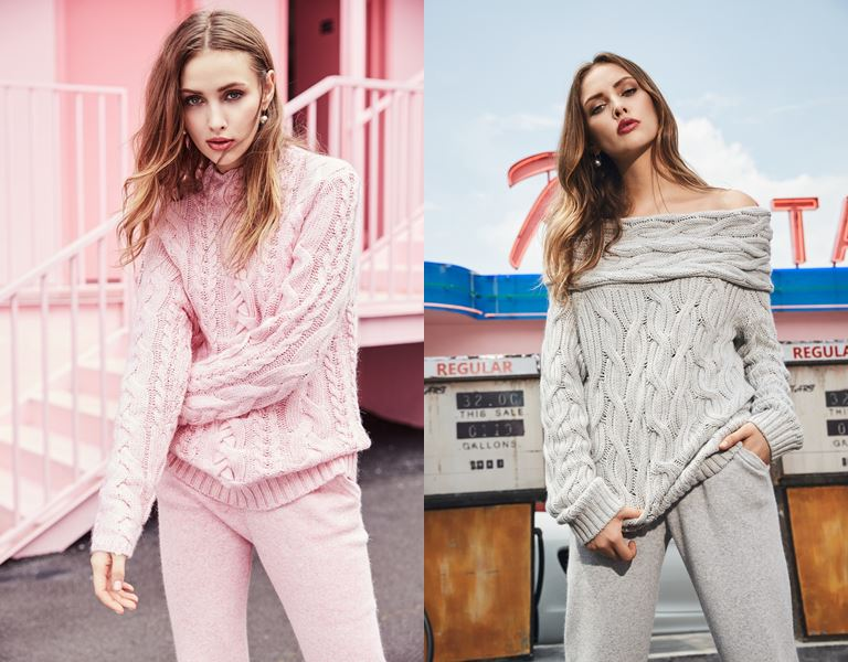 Лукбук коллекции трикотажа Ina Vokich осень-зима 2018-2019 - розовый и серый костюм