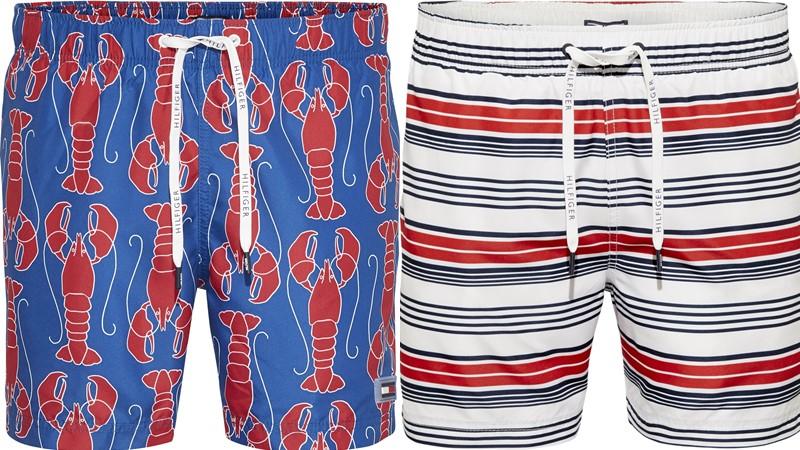 Мужские пляжные шорты Tommy Hilfiger весна-лето 2018 - сине-красные с принтом