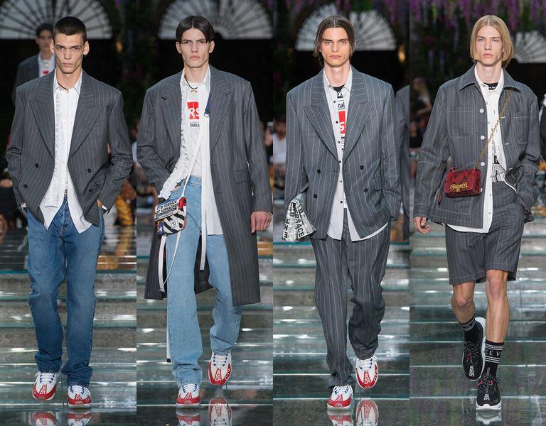 Мужская коллекция Versace весна-лето 2019 - серые пиджаки и джинсы