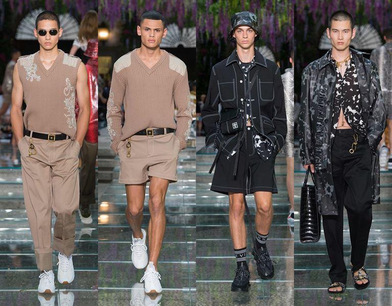 Мужская коллекция Versace весна-лето 2019 - бежевый и серый