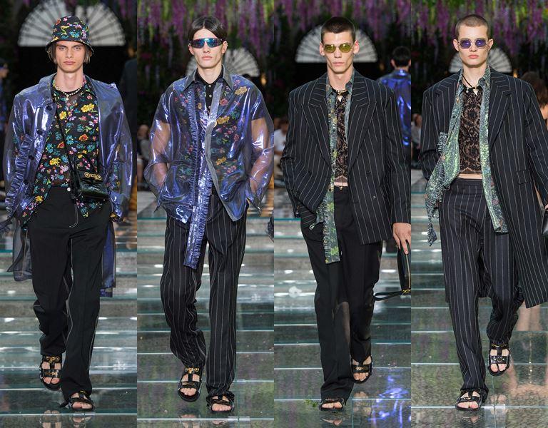Мужская коллекция Versace весна-лето 2019 - прозрачные куртки и полосатые пальто и пиджаки