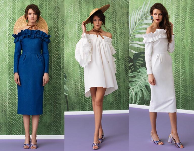 Круизная коллекция-2018 от Yulia Prokhorova Beloe Zoloto - платья с открытыми плечами и воланами