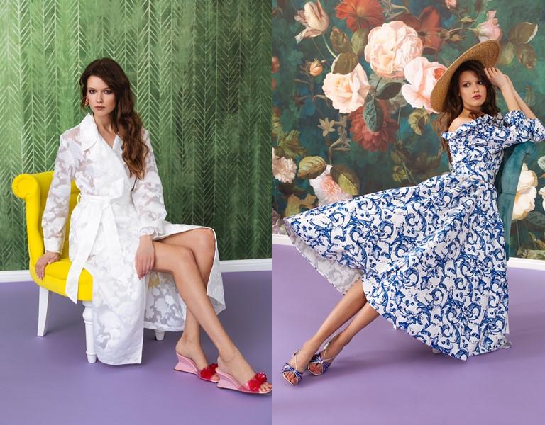 Круизная коллекция-2018 от Yulia Prokhorova Beloe Zoloto - белый тренч и голубое платье