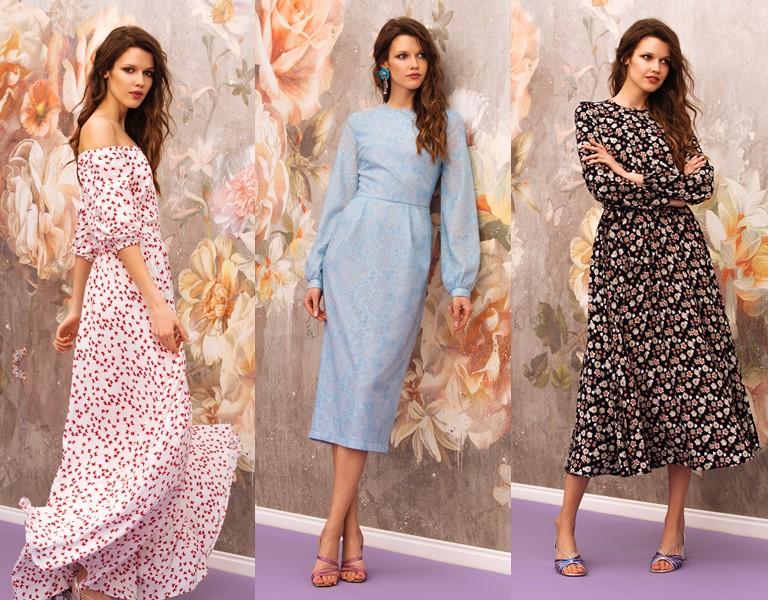 Круизная коллекция-2018 от Yulia Prokhorova Beloe Zoloto - цветочные платья миди