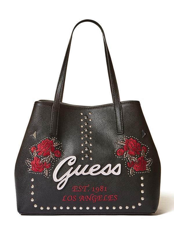 Новая сумка GUESS Vikky – чёрная кожаная с красными розами