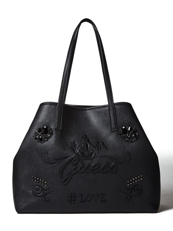 Новая сумка GUESS Vikky – чёрная кожаная