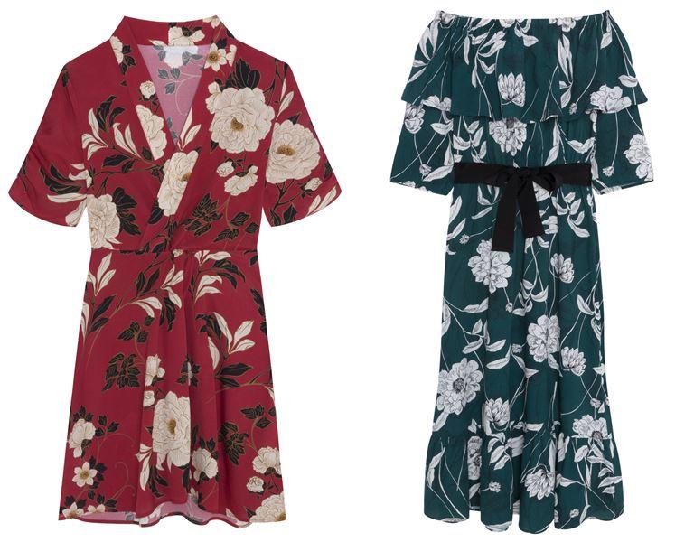 Летние платья Springfield 2018 - цветочные красное и зеленое короткое