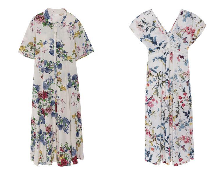 Летние платья Springfield 2018 - белые с цветочным принтом