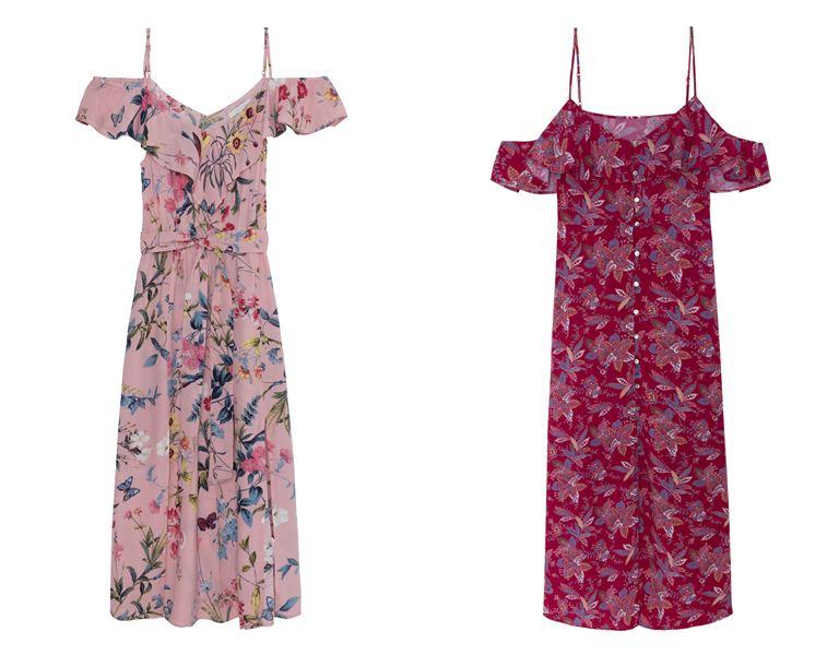 Летние платья Springfield 2018 - открытые плечи и бретельки с цветочным принтом