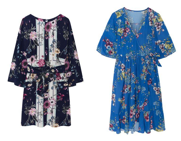 Летние платья Springfield 2018 - синие с цветочным принтом короткие