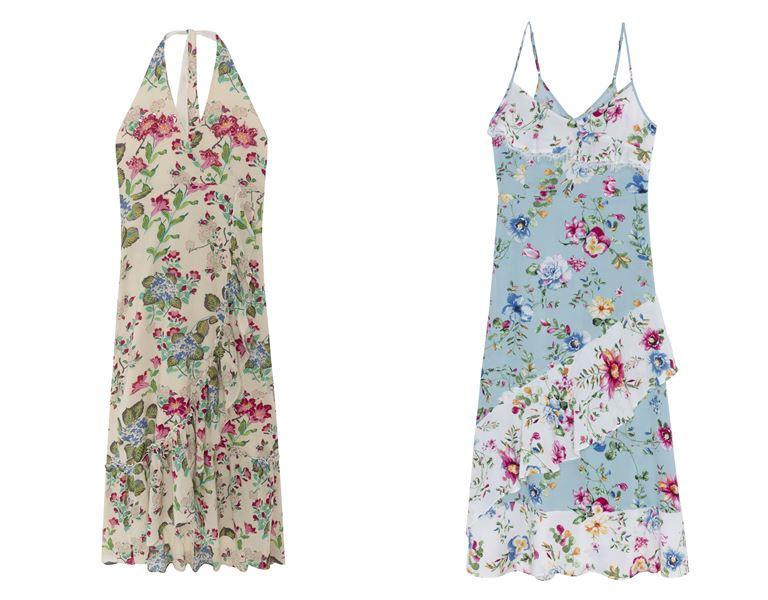 Летние платья Springfield 2018 - светлые короткие цветочные сарафаны