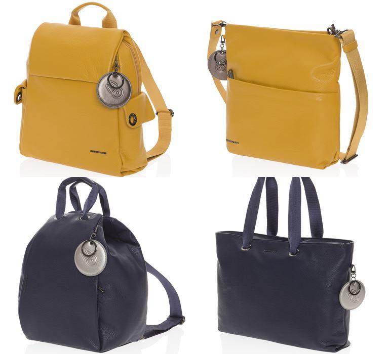Коллекция сумок Mandarina Duck осень-зима 2018-2019 - Mellow Leather - ярко-желтые и синие