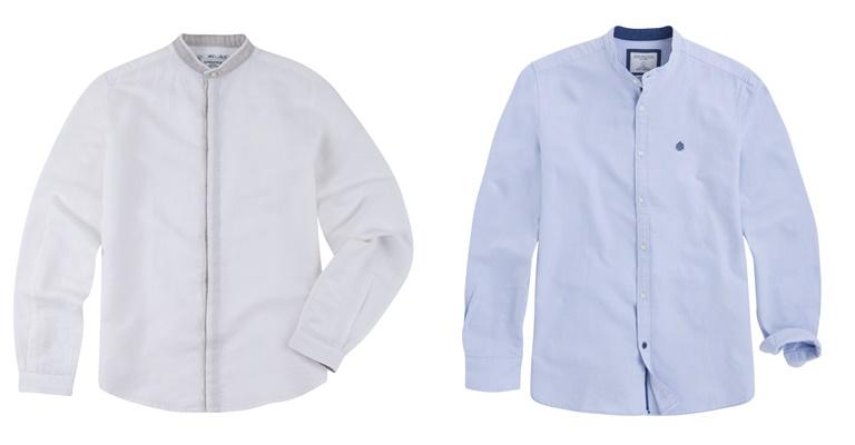 Летние мужские рубашки 2018 Springfield - серая и голубая с длинным рукавом