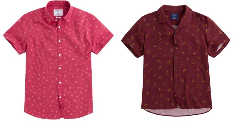 Летние мужские рубашки 2018 Springfield - красные с принтом и коротким рукавом