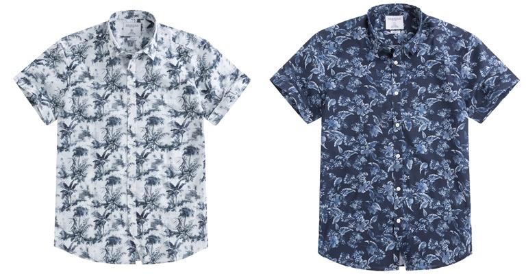 Летние мужские рубашки 2018 Springfield - белая и синяя с принтом и коротким рукавом
