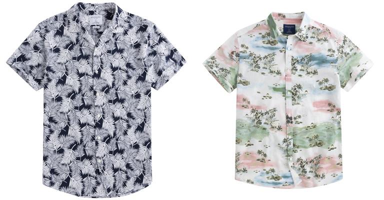 Летние мужские рубашки 2018 Springfield - серая и белая с летним принтом и коротким рукавом