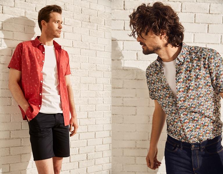 Летние мужские рубашки 2018 Springfield - с коротким рукавом с шортами и джинсами