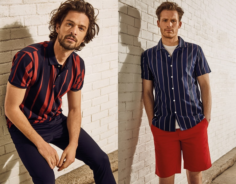 Летние мужские рубашки 2018 Springfield - в полоску с коротким рукавом