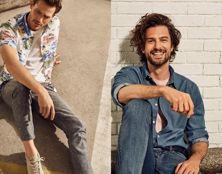Летние мужские рубашки 2018 Springfield - с джинсами