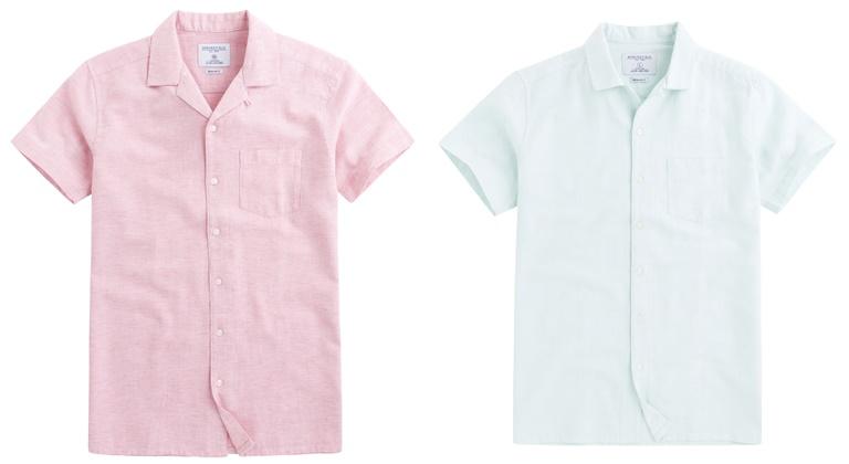 Летние мужские рубашки 2018 Springfield - розовая и мятная с коротким рукавом
