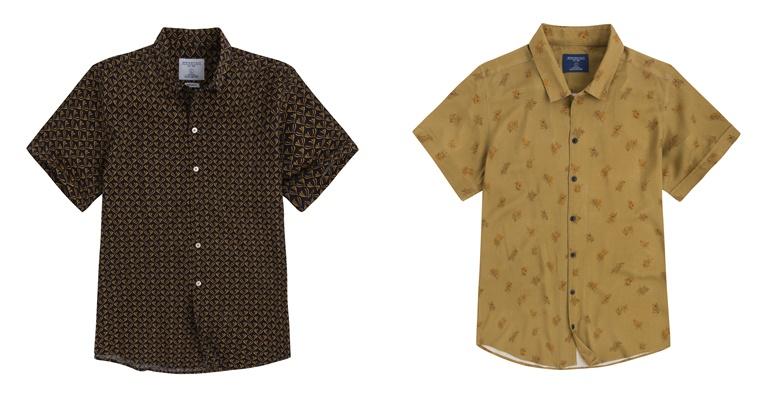 Летние мужские рубашки 2018 Springfield - коричневая и горчичная с коротким рукавом
